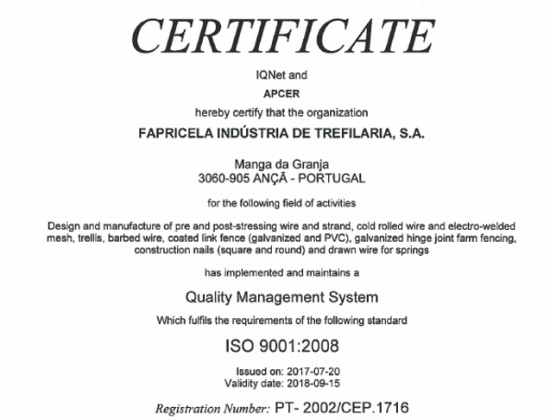 APCER IQNET ISO 9001:2008