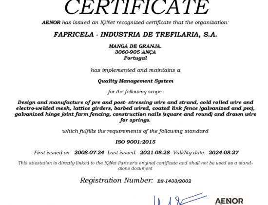 AENOR IQNET ISO 9001:2015